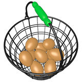 Wire Basket of Eggs Royalty Free Stock Images