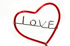 Wire bend to be the tree of love Stock Image