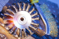 Wire brush for mechanical cleaning of metal Stock Image