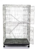 Wire cat crate or animal cage. On white background isolated Royalty Free Stock Photo
