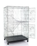 Wire cat crate or animal cage. On white background isolated Royalty Free Stock Photos