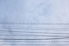 Wire in cloudy Royalty Free Stock Images