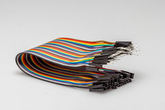 Wire colourful rainbow color wire for electronic fast prototyping. Rapid prototyping and manufacturing uses a lot of simple single components to build up huge royalty free stock photos