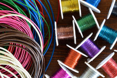 Wire crafts and leather cord Royalty Free Stock Images