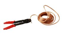 Wire cutter and cable. Wire cutter and speaker cable, isolated with clipping path stock photo