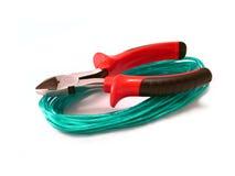 Wire-cutter e um fio Fotos de Stock
