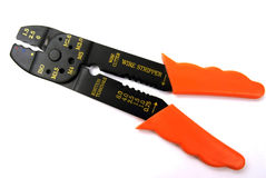 Wire cutter stripper. Tool, for cutting wire, crimping and stripping insulated wire Stock Photography