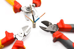 Wire cutter and wire Stock Photo