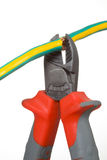 Wire cutter and wire. Side cutting pliers have a bite wire cutter thick multiconductor wire stock image
