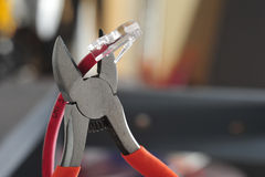 Wire cutters cat 5 cable Stock Image