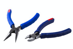Wire cutting and flat-nose pliers Royalty Free Stock Image