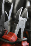 Wire cutting pliers. In a garage Stock Image