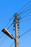 Wire electric in pole Stock Photos