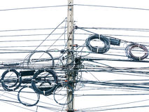 Wire electric in pole Royalty Free Stock Image