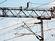 Wire. Electric pylon energy supply conductor Stock Photos