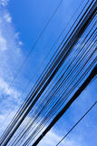 Wire. Electric sky line blue cloudy Stock Photo