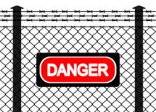 Wire fence with barbed wires Royalty Free Stock Images