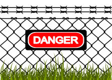 Wire fence with barbed wires Stock Photos