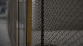 Wire fence. Closeup of steel net stock footage