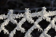 Wire fence covered with frost and hoarfrost. Royalty Free Stock Photography