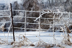 Wire fence covered in ice, in a snow country landscape Stock Image