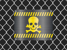 Wire fence and jolly roger sign Royalty Free Stock Photo