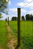 Wire fence running along pasture field. stock photo