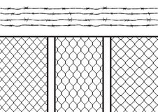 Wire fence set / pack with barb wire / barbed wire, seamless texture black silhouette Royalty Free Stock Images