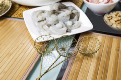 Wire Food Strainers for Dipping Meat into Hot Pot Stock Photo