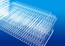 Wire frame. White Wire frame structure on blue background Stock Images