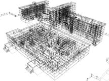 Wire-frame abstract archticture. On the white background. EPS 10 format stock illustration