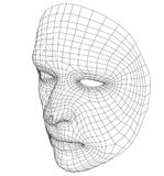 Wire-frame abstract human face. Concept of 3d Face recognition. Vector illustration rendering of 3d Stock Images
