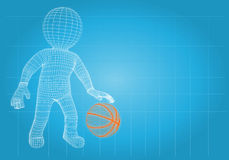 Wire frame basketball player with the ball Royalty Free Stock Photography