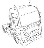 Wire-frame Big truck vector. Isolated on white background. Tracing illustration of 3d. EPS 10 vector format.  Royalty Free Stock Images