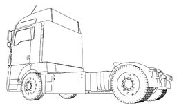Wire-frame Big truck vector. Isolated on white background. Tracing illustration of 3d. EPS 10 vector format.  Royalty Free Stock Photo