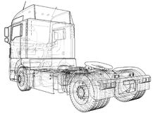 Wire-frame Big truck vector. Isolated on white background. Tracing illustration of 3d. EPS 10 vector format.  Stock Photos