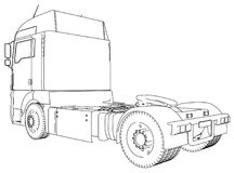 Wire-frame Big truck vector. Isolated on white background. Tracing illustration of 3d. EPS 10 vector format.  Stock Photography