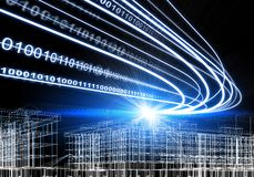 Wire-frame building, light beams and digits, on Stock Photo
