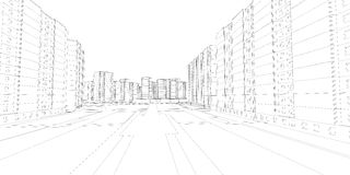 Wire-frame buildings and street. Vector Stock Photo