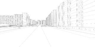 Wire-frame buildings and street. Vector Stock Photos