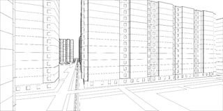 Wire-frame buildings. Vector Royalty Free Stock Photography