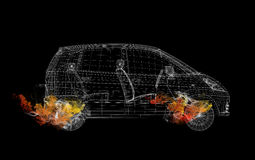 Wire frame car in the colored smoke Stock Photography