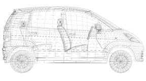 Wire frame car Royalty Free Stock Image
