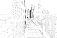 Wire Frame City. 3d image of wire frame view of city scape vector illustration