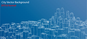 Wire-frame City, Blueprint Style. Vector Stock Photo