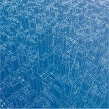 Wire-frame City, Blueprint Style. Vector Royalty Free Stock Image