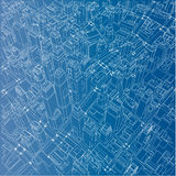 Wire-frame City, Blueprint Style. Vector Royalty Free Stock Photo