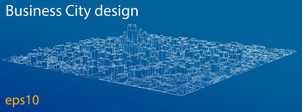 Wire-frame City, Blueprint Style. Vector Royalty Free Stock Photography