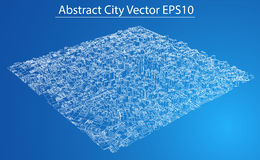 Wire-frame City, Blueprint Style. Vector Royalty Free Stock Images