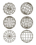 Wire-frame elements in the form of sphere Royalty Free Stock Photos